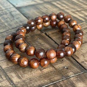 2pc 8mm Coconut Wood Stretch Bead Bracelet